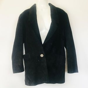 Vintage Bloomingdales Leather Suede Blazer Black 6
